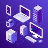 Hostingdatenserver, PC, Laptop-Computer, intelligente Uhr, NAS, Smartphone oder Handy Geräte für das Geschäft isometrisch vektor abbildung
