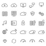 Hostingwolken- und -Netzwerkikonen Lizenzfreies Stockfoto