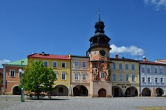 Hostinne-square with town hall Royalty Free Stock Photography