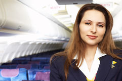Hostress do ar (stewardess) Imagem de Stock
