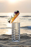 Hot. Summer time - sun class on the water bottle top Stock Image
