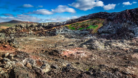 Hot and active area covered by lava, Iceland Royalty Free Stock Photos