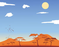 Hot african landscape. An illustration of a hot african landscape with acacia trees and mountains with fluffy white clouds and a yellow sun Royalty Free Stock Photos