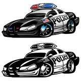 Police Muscle Car Cartoon Vector Illustration. Hot aggressive looking police muscle car hot rod cartoon illustrated in full color and black line art for easy vector illustration