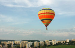 Hot air ballon. Above the city of Brno stock photography
