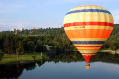 Hot air ballon. Above the Brno lake in Czech Republic royalty free stock images