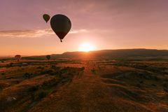 Hot air ballon in Cappadocia. stock image