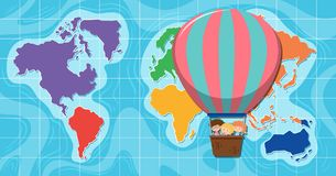 Hot air ballon infront of map. Illustration Stock Images