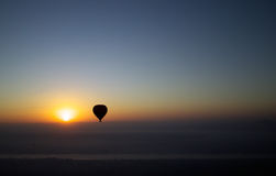 Hot air ballon over the Nile at Dawn Stock Image