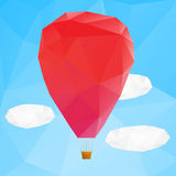 Hot air ballon, poplygonal vector illustration Stock Photography