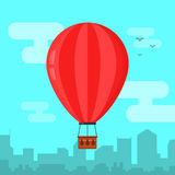 Hot air ballon in the sky and city landscape. Flat design vector illustration Stock Image