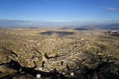 Hot air ballon trip in cappadocia, turkey. Hot air ballon fly above cappadocia area. The view of whole cappadocia area Stock Photo