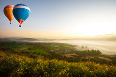 Hot air ballons. Hot air balloons over sea of mist Stock Photography