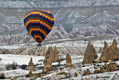 Hot Air Ballons flying in Cappadocia. Stock Photos