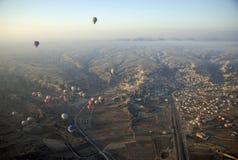 Hot Air Ballons flying on the sky of Cappadocia. Royalty Free Stock Photo