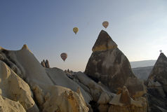 Hot Air Ballons flying on the sky of Cappadocia. stock photo