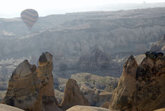 Hot Air Ballons flying on the sky of Cappadocia. Royalty Free Stock Photography