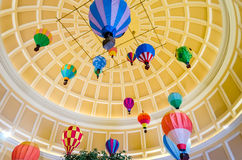 Hot Air Ballons inside the Bellagio Luxury Hotel and Casino in L royalty free stock image