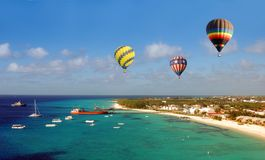 Hot Air Ballons Over Beach Royalty Free Stock Images