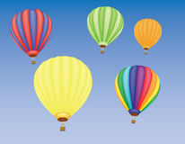 Hot air ballons in a sky. Five hot air ballons in a sky vector illustration Stock Photo