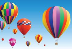 Hot air balloon. Colourful hot air balloon flying in sky Stock Photography