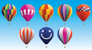 Hot air balloon. Difference type of colour hot air balloon Royalty Free Stock Photo