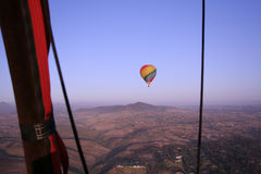 Hot Air Balloon. A hot air balloon over the North County area of San Diego as seen from another balloon Royalty Free Stock Photo
