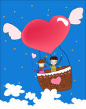 Hot air balloon 2. Girl and boy in hot air balloon Stock Images