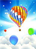 Hot air balloon. Vector illustration of Colorful abstract Background with funky balloon - great for greeting and birthday postcards, flyers and many more Royalty Free Stock Photos