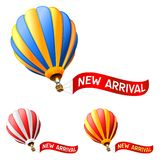 Hot air balloon. With new arrival sign Royalty Free Stock Photos
