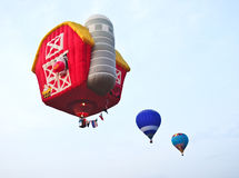 Hot air balloon. Red hot air balloon in sky Royalty Free Stock Photography