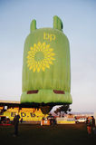 Green Gas Cylinder Hot Air Balloon on Ground Stock Images