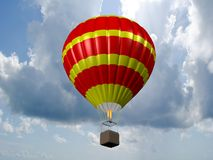 Hot air balloon. Sporting activity on a fresh blue day. 3D Royalty Free Stock Photo