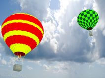 Hot air balloon. Sporting activity on a fresh blue day. 3D Stock Images