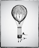 Hot air balloon. Vintage hot air balloon hand drown picture Royalty Free Stock Image