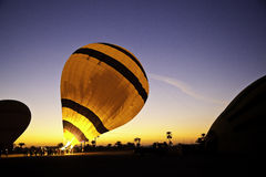 Hot air balloon. Is inflating before liftoff Stock Photos