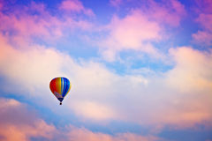 Hot-air balloon. Colorful hot-air balloon in twilight stock photography