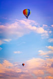 Hot-air balloon. Colorful hot-air balloon in twilight royalty free stock photography