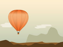 Hot air balloon. Lost in the desert Royalty Free Stock Image