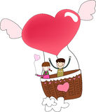 Hot air balloon. Girl and boy in hot air balloon Stock Images