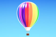 Hot air balloon, aerostat in the blue sky. 3D rendering. Hot air balloon, aerostat in the blue sky Stock Image
