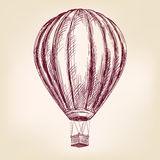 Hot air balloon, airship or transport  hand drawn vector illustration  sketch Stock Image
