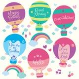 Hot air balloon animals clip art Stock Photography