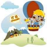 Hot air balloon. Animals holiday with hot air balloon, vector cartoon. EPS 10 Royalty Free Stock Image