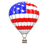 Hot Air Balloon as USA Flag in Flight Stock Image