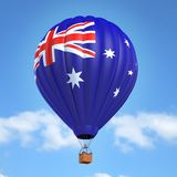 Hot air balloon with Australian flag. 3d illustrated rendering Stock Images
