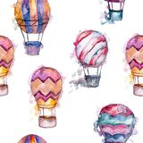 Hot air balloon background fly air transport illustration. Seamless background pattern. vector illustration