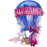 Hot air balloon background fly air transport. Watercolor background set. Isolated balloons illustration element.