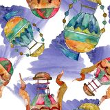 Hot air balloon background fly air transport. Watercolor background set. Seamless background pattern.