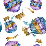 Hot air balloon background fly air transport. Watercolor background set. Seamless background pattern. Hot air balloon background fly air transport illustration stock illustration